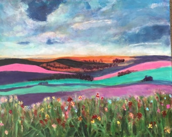 "Field of Poppies""  Original Acrylic on Canvas"
