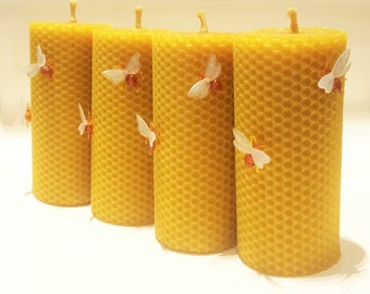 Pure Beeswax Pillar Candles Set of 4 Candles Size W 6 x H 13 cm Eco Candles Decorated With Bees Handmade Pure Natural Honey Scent Handrolled