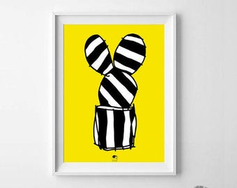Cactus Illustration Poster, Yellow Black and White, Poster