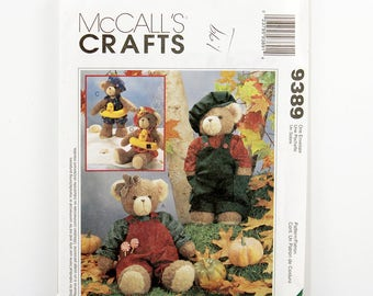 "McCall's Pattern 9389, 13"" Bear with Clothing, Hats, Swimming Float, Stuffed Bear Pattern, Stuffed Animal Pattern, Seasonal Clothes, UNCUT"