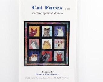 Vintage Appliques Patterns, 20 Cat Faces, Machine Applique, DIY Cat Quilt, Cat Faces Wall Hanging