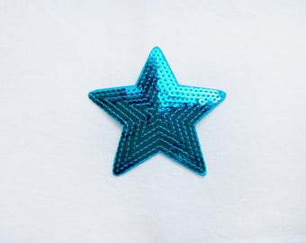 1x sequins blue vibrant glitter shiny STAR patch love burlesque Iron On Embroidered Applique