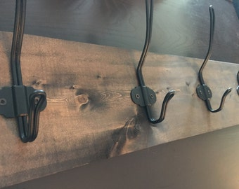 Rustic Wood Coat Rack with Metal Hooks