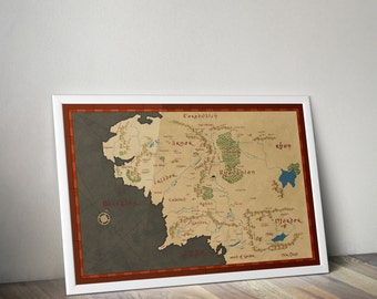 Lord of the Rings Map Wall Art Poster / Large poster Sizes / Middle Earth Map / Lord Of The Rings Fantasy Map / Mordor / Rohan / Gondor