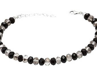 Force self-confidence harmony protection energy Bracelet Onyx Sterling Silver and swarovski crystals natural gems semi precious stones