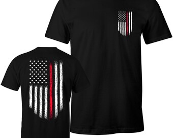 Thin Red Line Firefighter Shirt Firefighters Thin Red Line USA Flag Courage Men's T-Shirt
