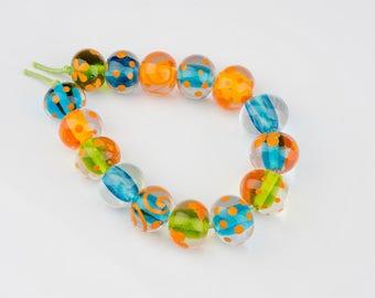 Tropical - lampwork glass beads handmade by Rebecca Weddell