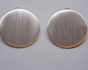 Sterling silver satin finish disc earrings