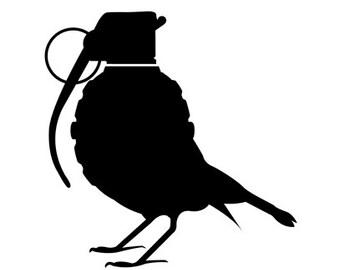 Grenade bird 5 x 5 vinyl decal