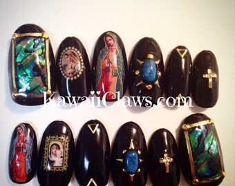 Black Religious Catholic Theme Mary Cross Gel Nail Art Press on false fake nails
