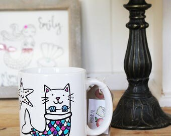 Personalised Meow-Maid Mug Cat Mermaid