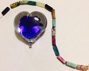 "Jewellery Makers Delight! 7"" Strand of Multi Semiprecious 4mm x 13mm Bugle Beads"