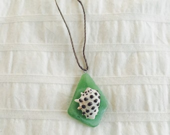 Shells Necklace *Green Sea Glass + Drupe Shell
