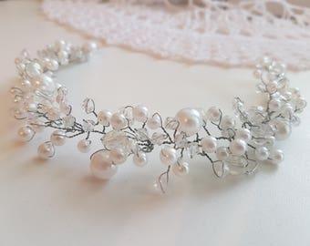 Hair vine Bridal beaded hair vine Hair Pin Silver Hair Accessories beaded headband Bridal hair wrap wedding hair vine