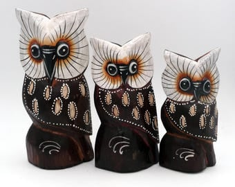 Set of 3 OWL OWL wooden carved and painted