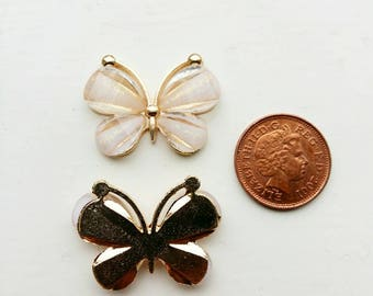 Metal Butterfly embellishments, Butterfly flatbacks, butterfly cabochon, pack of 5