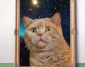 Cat staring at the universe-JPG-300 dpi-feline,space cat,meme cat,cosmic cat,cat staring,in space,catprint,print cat,frame,frame cat,pic cat
