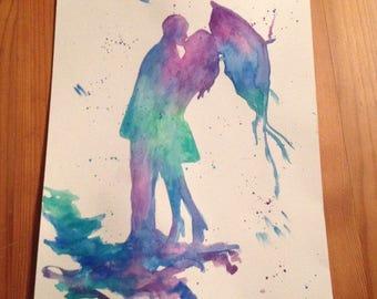 Couple under Umbrella in Rain, watercolour painting