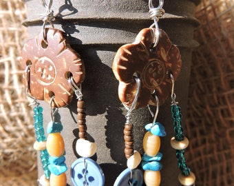 Brown, turquoise, blue, beige, recycled earrings