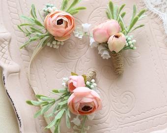 Mia Silk Flower Ranunculus Peony Corsage & Boutonniere // Wedding / Prom / Bridesmaids