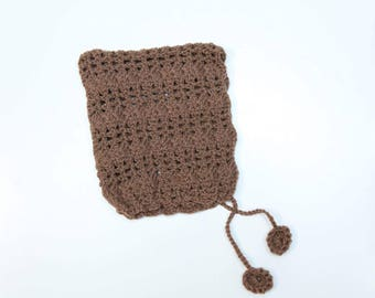 "Crochet ""Nina"" Pixie Bonnet Crocheted Baby Bonnet"