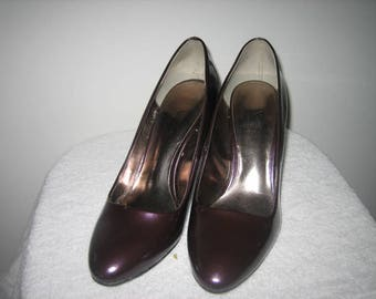 Purple Shoes Vintage Worthington Purple Faux Patent Leather Pumps New Condition 9M