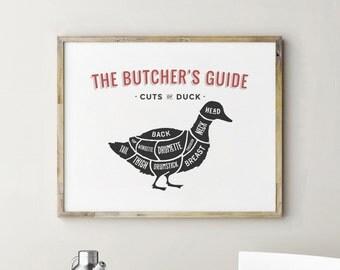 Printable Butcher Print, Butcher Chart, Duck Art, Kitchen Decor, Kitchen Decor Wall, Kitchen Signs, Kitchen Wall Decor, Kitchen Wall Art