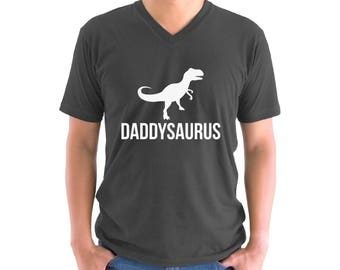 Daddysaurus V-neck Shirt T shirt Tops Fathers Day Cool Gift Dinosaur Rex Daddy Saur Gift for Dad