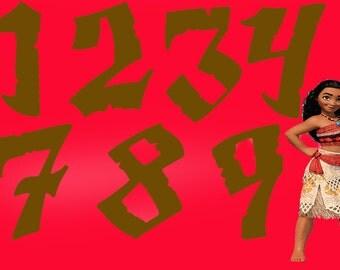 Moana numbers | clip art | nursery decor | party invitations | birthday invitations | birthday party decor | girl decor | boy decor