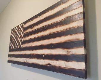 Rustic American Flag - Burned Wood