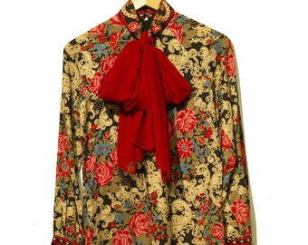 70's Roses Are Red Bow Tie Vintage Top
