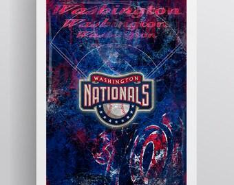 Washington Nationals Layered Poster, Washington Nationals Artwork, Nationals Gift for all occasions.