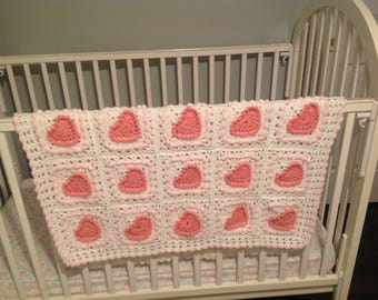 Pink Hearts Baby Afghan