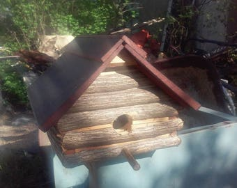Rustic Log Cabin Birdhouse