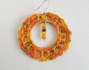 Bohemian Crochet Hoop Earrings - Bright Spring Colors of Orange and Yellow - Gold Beads
