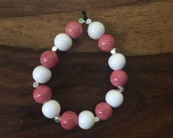 Pink and white ceramic bracelet