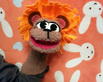 Lion sock puppet
