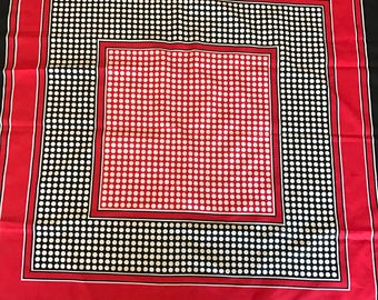 Vintage Red, Navy and White Geometric Scarf