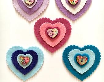 Felt hearts, felt heart embellishments, felt heart appliqués, craft supplies