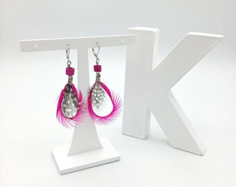 Neon pink feather earrings