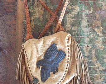 Handmade Deerskin Small Pouch, Vintage Deerskin Pouch, Vintage Handmade Deerskin Bag, Deerskin Purse With Silver, Handmade Deerskin Purse