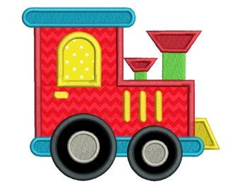 Toy Train Applique Embroidery Design, Locomotive Machine Embroidery, Boys Train Embroidery, 4x4, 5x7, 6x10, Instant Download, No: SA559-8