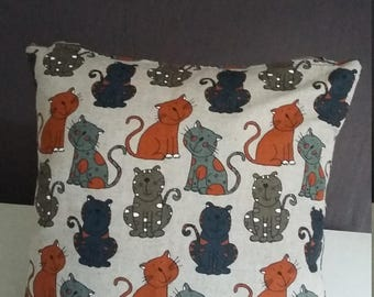 cushion with happy cats print