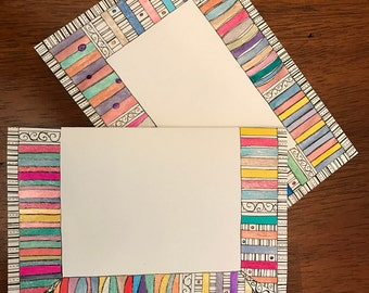 Hand Designed Colorful Blank Greeting Card
