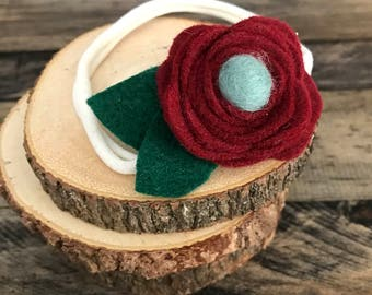 Deep Red Felt Flower Baby Headband