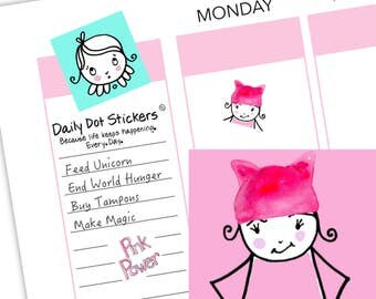 Printable Stickers | Pink Pussy Hat Stickers | Planner Stickers | Erin Condren | Printable Planner | Happy Planner | Instant Download