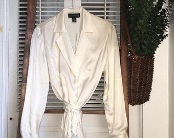 Vintage 100% Silk Ivory Wrap Blouse S/M