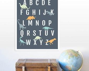 Dinosaur Alphabet Poster, Dinosaur wall art, abc poster, abc wall art, Dinosaur nursery decor, Alphabet poster, Dinosaur decor, abc poster