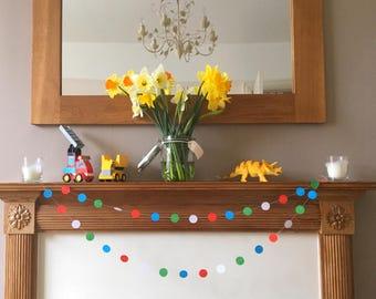 Circle bright paper garland - bunting - card - party decoration - playroom
