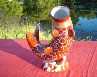 """9.5 Cinnabar Koi Fish Vase Stands 9 1/4"""" Tall With Tags In Place Perfect Cond."""